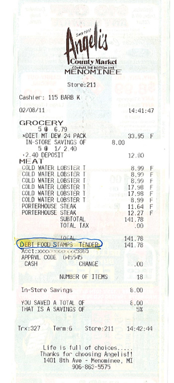 Food Stamp Receipt