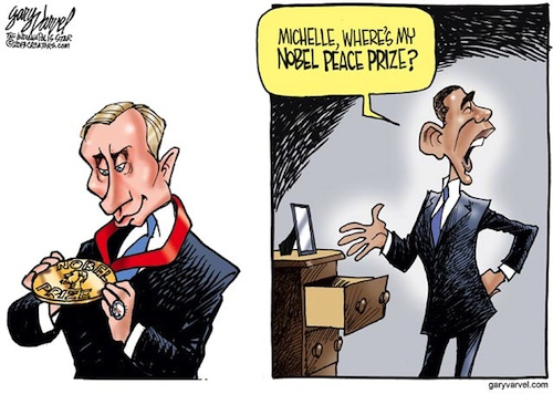 Cartoonist Gary Varvel: Obama, Putin and the Nobel Peace Prize