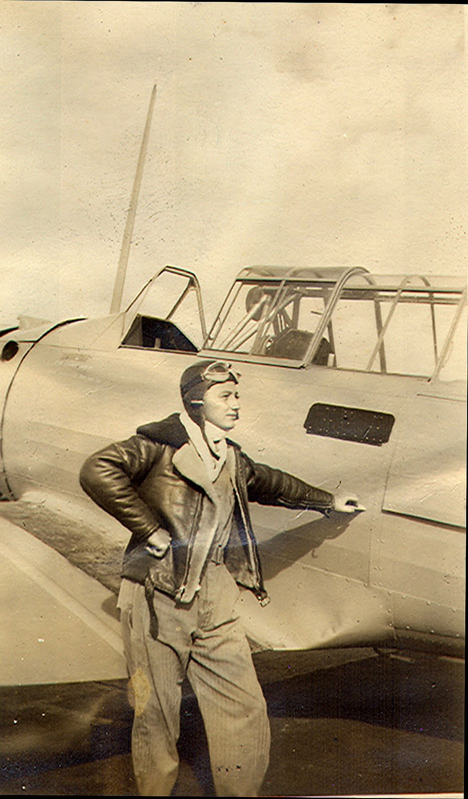 Dad, Sepia, Open Cockpit, Standing-A