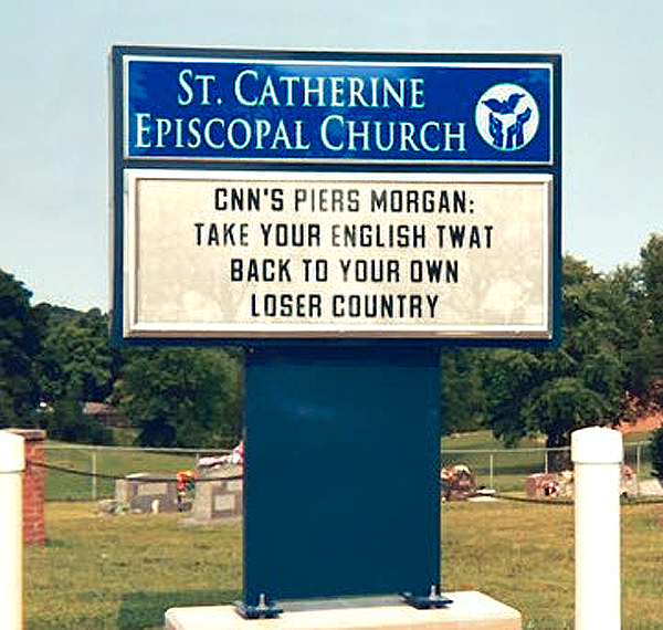 Piers Morgan CNN Church Sign