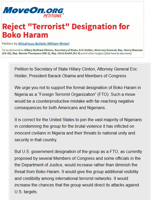 MoveOn.org Petition Boko Haram