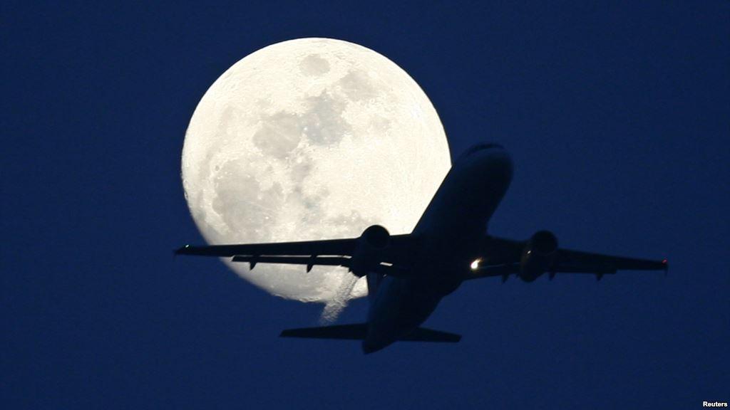 Aircraft Against Moon
