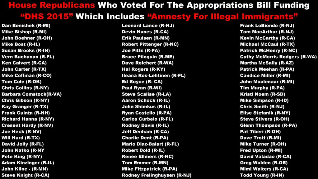 GOP RINOs Voting For Illegal Amnesty