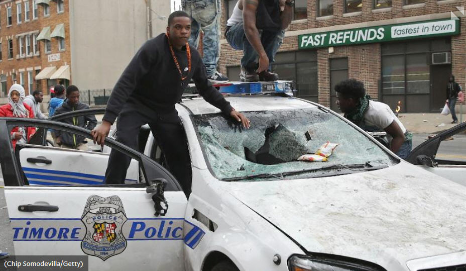 Baltimore Cop Car Smashed By More