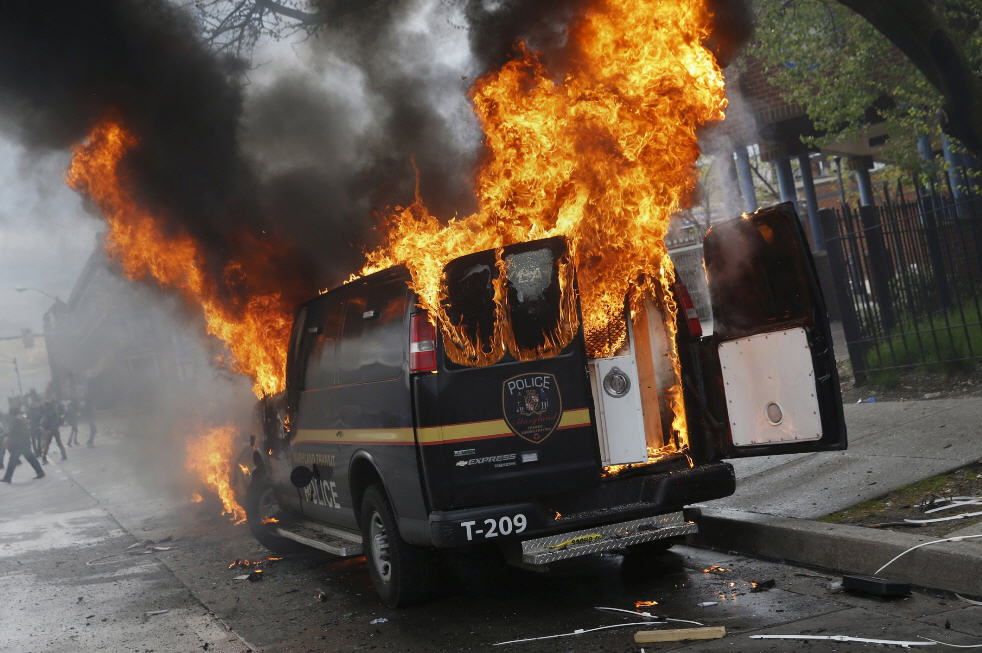 Baltimore PD Van Burning