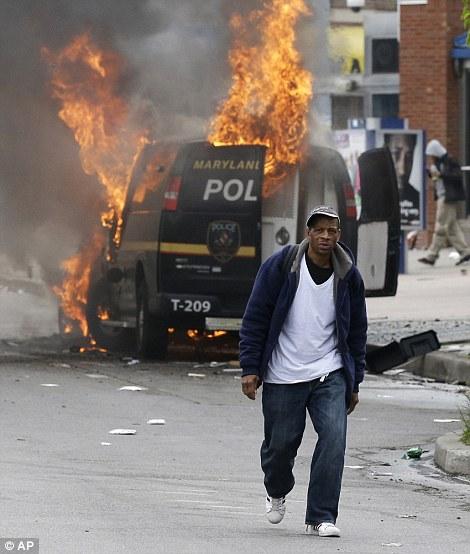 Baltimore Riot Cop Cars Burn