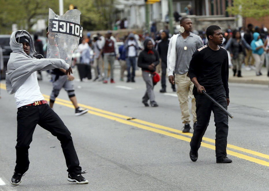 Baltimore Rioters Using Stolen Cop Eqpmt