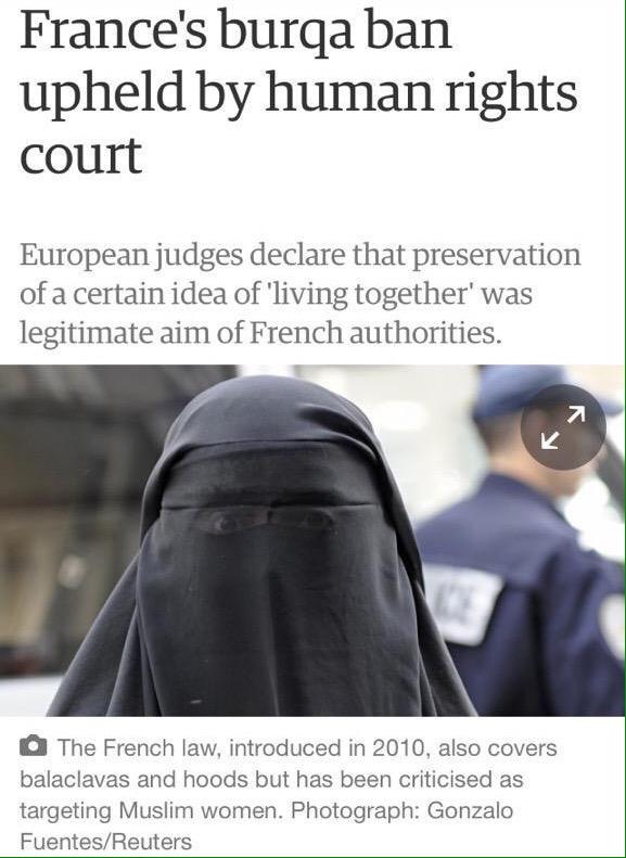 Burkha Ban In France Lawful