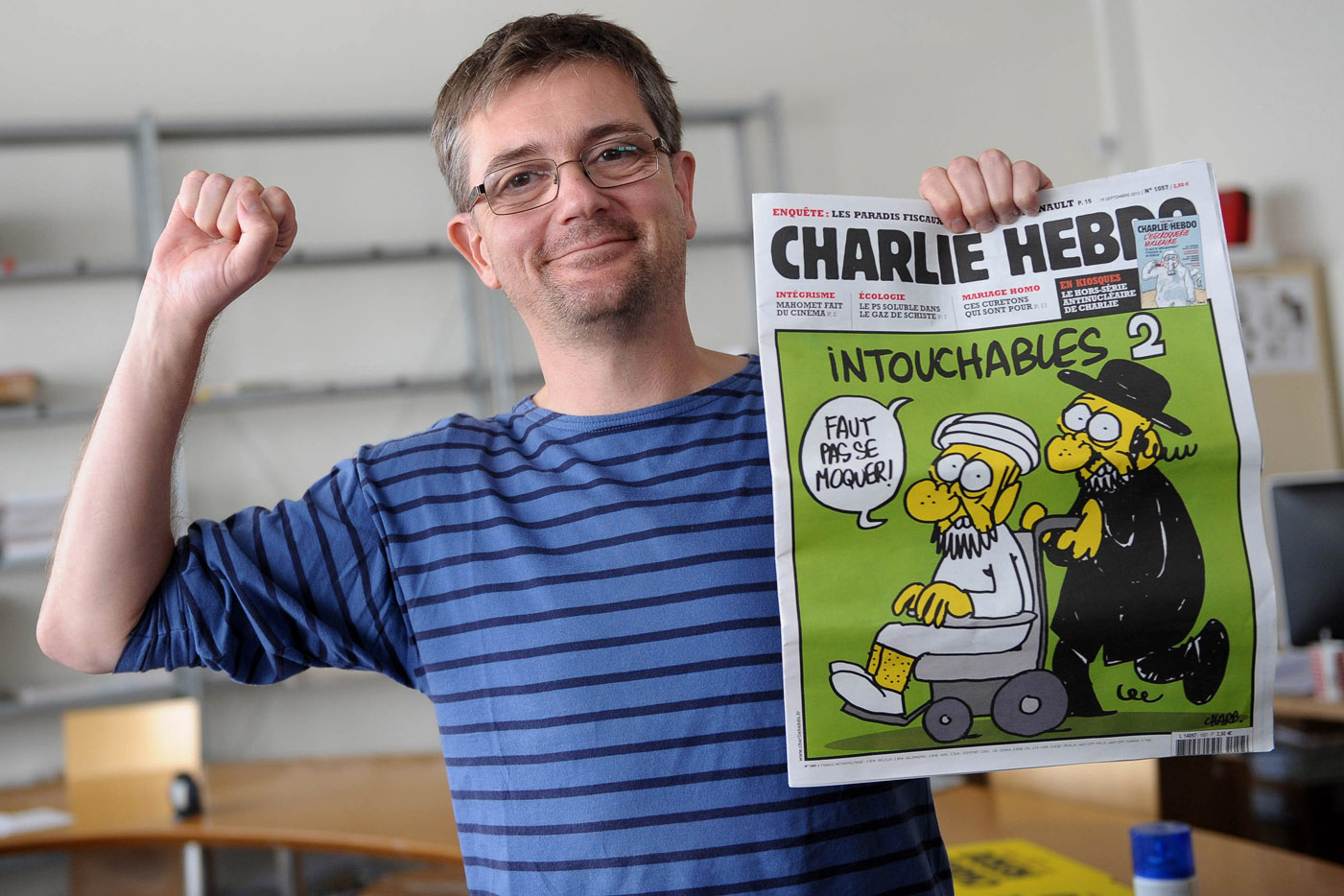 Sept. 19, 2012 - Paris, France - STEPHANE CHARBONNIER, editor of French satirical magazine Charlie Hebdo. Security at French embassies around the world has been reinforced after the Paris-based satirical magazine Charlie Hebdo published cartoons mocking the prophet Muhammad. (Credit Image: © Pascal Potier/Visual/ZUMAPRESS.com)
