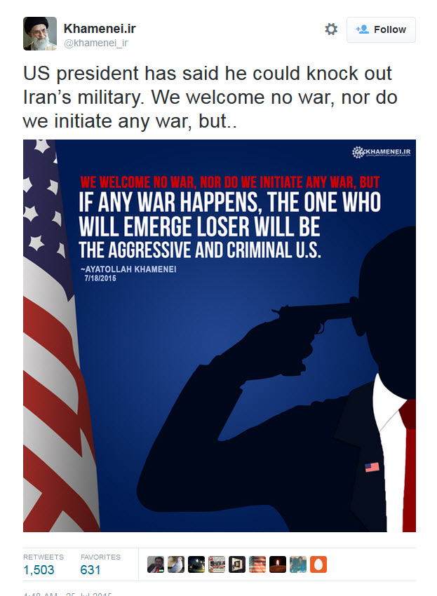 Khamenei Tweet About Obama