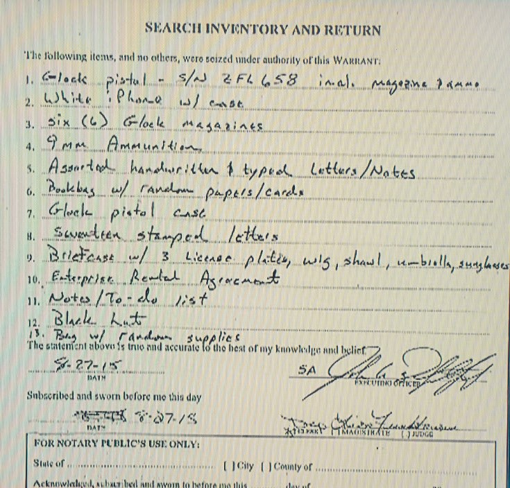 Bryce Williams Inventory of Car