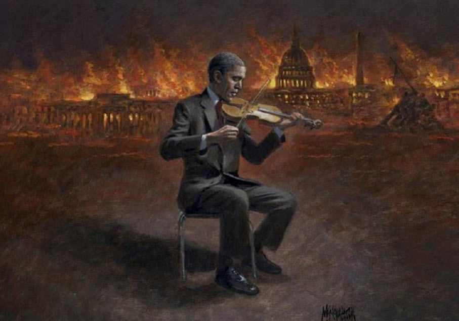 Obama Fiddling As DC Burns
