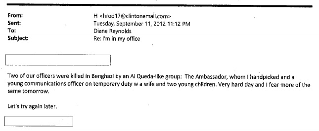 Hillary Clinton Email to Chelsea Re Benghazi Attack