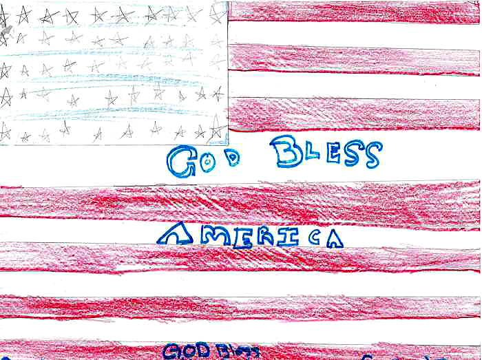 God Bless America Kids Drawing