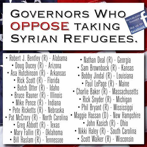 Syrian Refugee Governors OPPOSING