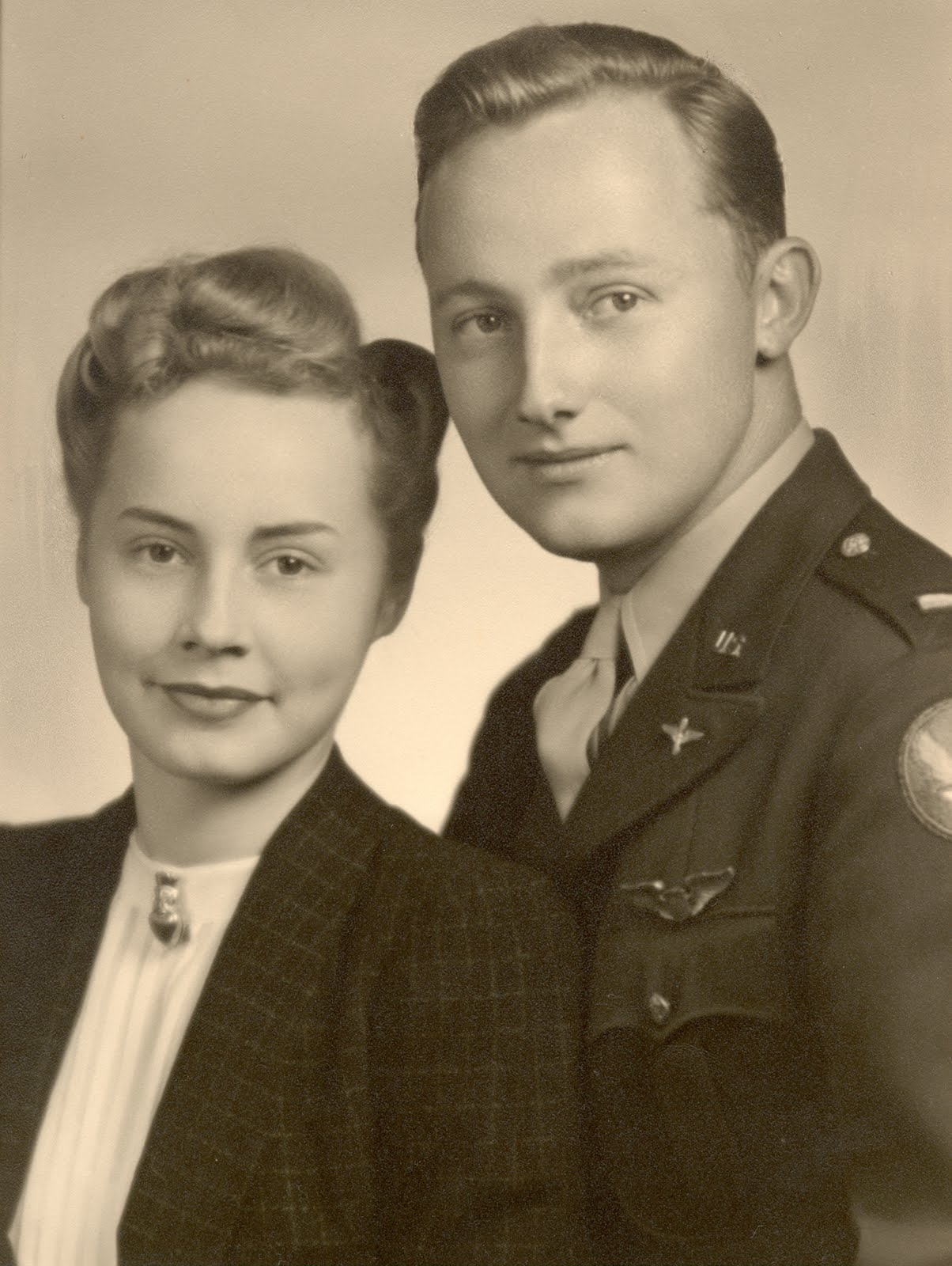 Mom & Dad WWII Photo B&W
