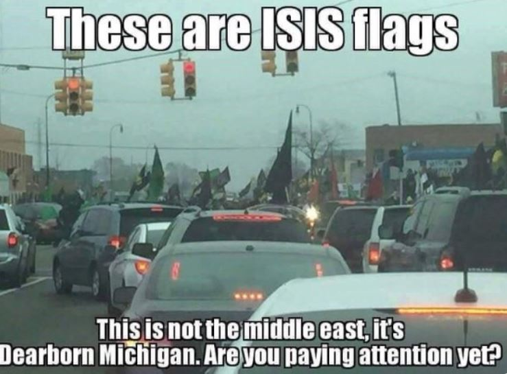 ISIS FLAGS In DEARBORN, MICHIGAN