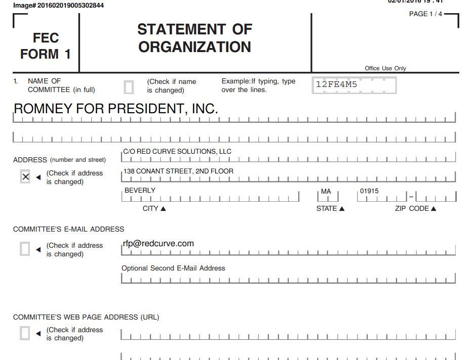 Mitt Romney FEC Paperwork