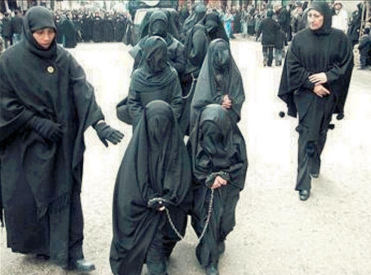 ISLAM WOMEN IN BLACK CHAINS