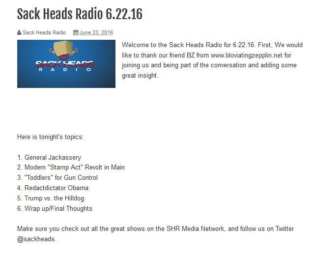 Sack Heads Radio Show with BZ 6-22-2016