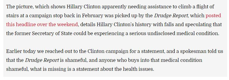 Hillary Clinton Medical Issues Shameful