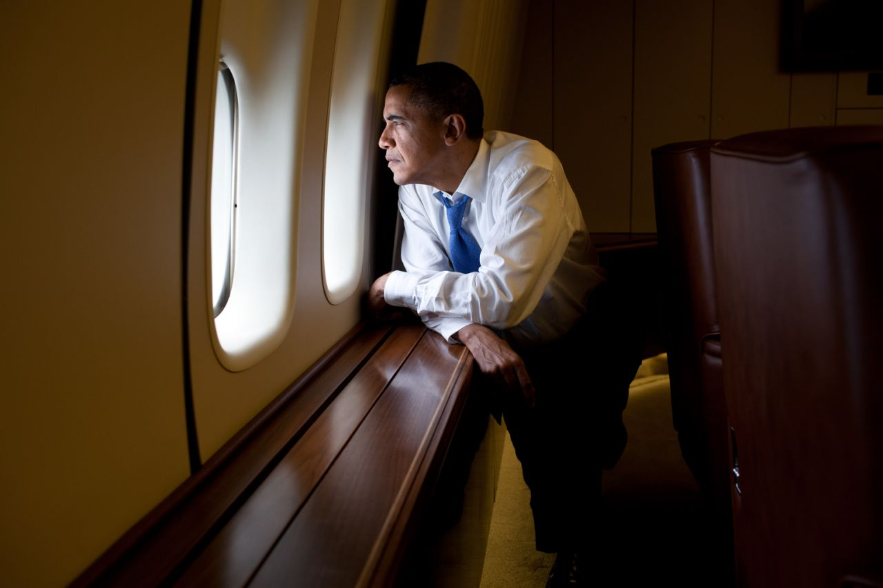Obama Looking Out Window AF1