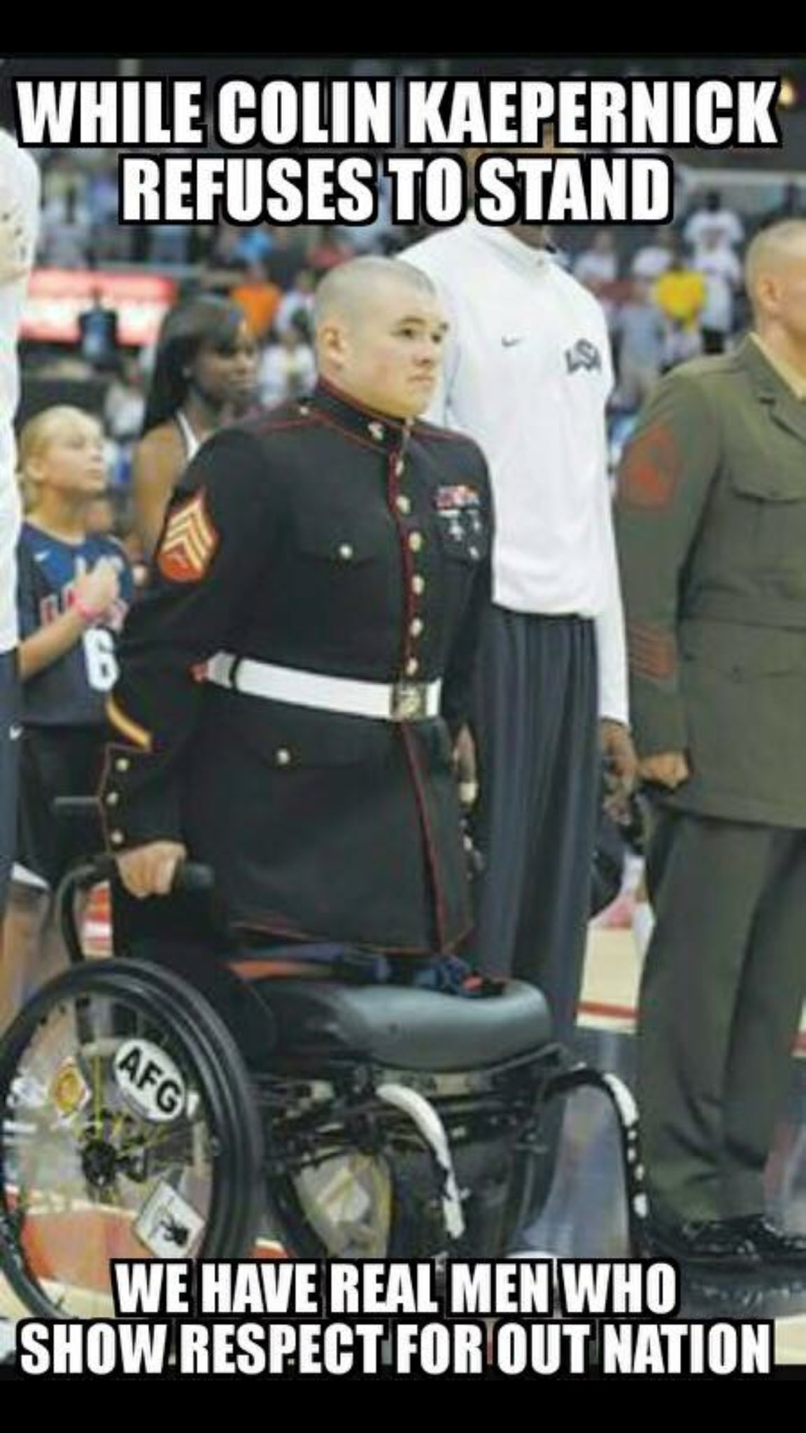 US Soldier STANDS During National Anthem